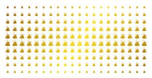 Shit Smell Gold Halftone Array. Shit smell icon gold colored halftone pattern. Vector shit smell symbols are arranged into halftone array with inclined gold Stock Image