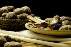 Shitake mushroom and herbal chinese medecine Stock Image