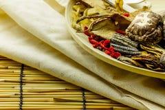 Shitake mushroom and herbal chinese medecine Stock Images