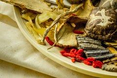 Shitake mushroom and herbal chinese medecine Stock Photo