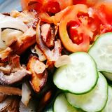 Shitake mushroom salad royalty free stock photo