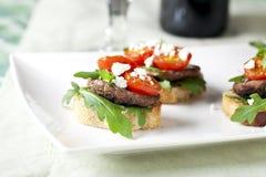 Shitake Mushroom Tapas on platter Stock Photo