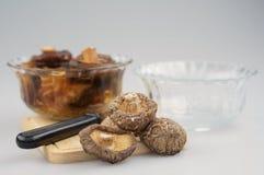 Shitake-Pilz, tränken Pilz und Schüssel auf hackendem Brett lizenzfreies stockbild