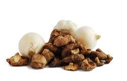 Shitaki. And onion isolated on white Royalty Free Stock Image
