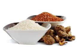 Shitaki e arroz Imagem de Stock