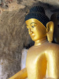 Shite-thaung寺庙的, Mrauk U,实兑区的次级区域, Rakhine,缅甸菩萨。 免版税库存图片