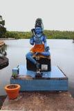 Shiva雕象 湖盛大Bassin,毛里求斯 库存照片
