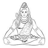 shiva бога индусское также вектор иллюстрации притяжки corel иллюстрация вектора