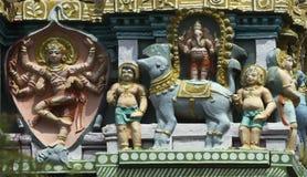 Shiva as elephant slayer on Gopuram. Royalty Free Stock Images