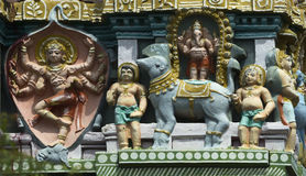 Shiva come assassino dell'elefante su Gopuram Immagini Stock Libere da Diritti