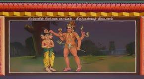 Shiva cuts off fifth head of Brahma. Stock Image