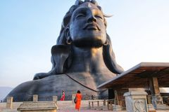 Shiva, das Adiyogi, das erste Jogi stockfotografie
