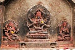 Shiva Figure in Pashupatinath. Nepal, Kathmandu, Hindu Gods on a Shrine at Pashupatinath Temple Royalty Free Stock Images