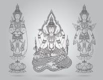 Shiva of line thai tradition,buddha jewelry set. Vector Royalty Free Stock Photos