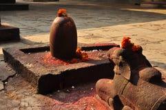 Shiva Linga y estatua sagrada del toro en un templo hindú Imágenes de archivo libres de regalías