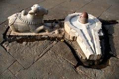 Shiva Lingam and Bull. Nandi and a Shiva Lingam in India used for worship Stock Photo
