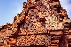 Shiva Nataraja показано на восточном gopura внутренней стены приложения, виска Banteay Srei, Siem Reap, Камбоджи стоковое изображение rf