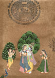 Shiva and Parvati. In love, Indian miniature painting on 19th century paper. Udaipur, India Stock Photo
