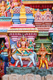 Shiva and Parvati on bull. Image. Sculptures on Hindu temple gopura (tower). Meenakshi Temple, Madurai, Tamil Nadu, India Stock Images