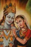 Shiva and Parvati. Detail of a painting of Shiva and Parvati, Hindu Gods in Lautoka, Fiji Stock Photos
