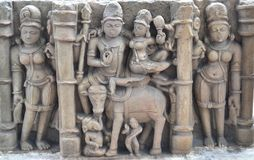 Historic Shiva Parvati and Ganesha Sclupture. Ancient Stone Carvings  of Shiva-Parvati and Ganesha. They are worshiped as  deities in Hindu religion and culture Stock Photography