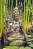 Shiva statue from copper. With trident in a pond Stock Photos