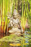 Shiva statue in a pond. Shiva statue from copper with trident in a pond Royalty Free Stock Images