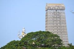 Shiva Statue & tempel - Murudeshwar Arkivbilder