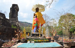 Shiva staty av vaten Phou eller Wat Phu på Pakse i Champasak, Laos Royaltyfri Foto