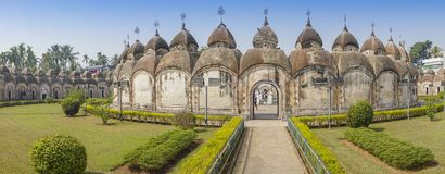 108 Shiva Temples of Kalna, Burdwan. Panoramic image of 108 Shiva Temples of Kalna, Burdwan , West Bengal. A total of 108 temples of Lord Shiva a Hindu God, are Royalty Free Stock Images