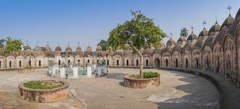 108 Shiva Temples of Kalna, Burdwan. Panoramic image of 108 Shiva Temples of Kalna, Burdwan , West Bengal. A total of 108 temples of Lord Shiva a Hindu God, are Royalty Free Stock Photography
