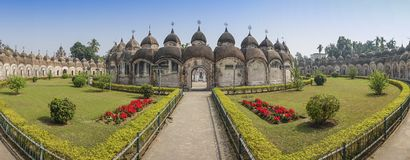 108 Shiva Temples of Kalna, Burdwan. Panoramic image of 108 Shiva Temples of Kalna, Burdwan , West Bengal. A total of 108 temples of Lord Shiva a Hindu God, are Royalty Free Stock Photos
