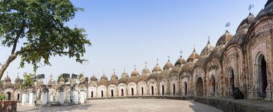 108 Shiva Temples of Kalna, Burdwan. Panoramic image of 108 Shiva Temples of Kalna, Burdwan , West Bengal. A total of 108 temples of Lord Shiva a Hindu God, are Stock Photo