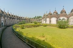 108 Shiva Temples of Kalna, Burdwan. West Bengal. A total of 108 temples of Lord Shiva a Hindu God, are arranged in two concentric circles - an architectural Stock Photos