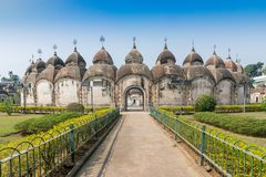 108 Shiva Temples of Kalna, Burdwan , West Bengal. A total of 108 temples of Lord Shiva a Hindu God, are arranged in two concentric circles - an architectural Stock Photos