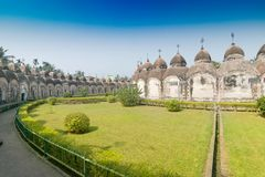 108 Shiva Temples of Kalna, Burdwan. West Bengal. A total of 108 temples of Lord Shiva a Hindu God, are arranged in two concentric circles - an architectural Royalty Free Stock Photography