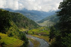 Shivalaya village in central Nepal. With Khimti Khola river Stock Photography