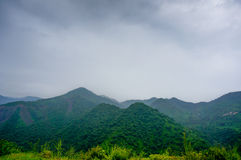 Shivalik hills with clouds and fog Royalty Free Stock Image