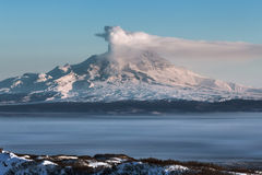 Shiveluch Volcano - eruption active volcano of Kamchatka royalty free stock images