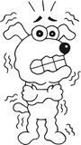Shivering Dog. Retro cartoon funny dog is shivering. Outline Stock Photos