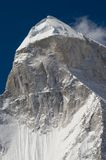 Shivling mountain, the Himalayas. Close up of Shivling mountain (6450m high) in the Himalayans, India. The picture has been taken from Tapoban place Stock Images