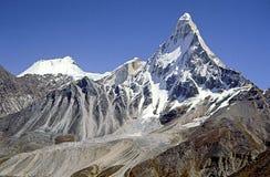 Shivling piek, Indisch Himalayagebergte Stock Foto