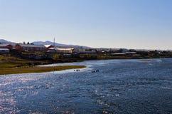 ShiWei miasteczko chińsko-rosyjska granica, Wewnętrzny Mongolia, Chiny Obrazy Stock