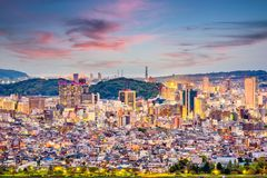 Shizuoka City, Japan. Downtown skyline at twilight royalty free stock images