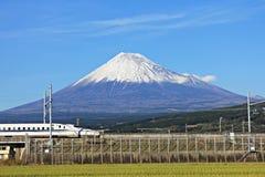 SHIZUOKA,JAPAN – DECEMBER 5,2015 : View of Mt Fuji and Tokaido Shinkansen, Shizuoka, Japan royalty free stock image