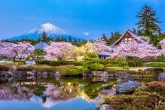 Shizuoka, Japan in Spring. Fujinomiya, Shizuoka, Japan with Mt. Fuji and temples in spring season Stock Photography