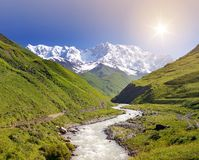 Shkhara mountain in the Caucasus Stock Image