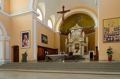 St. Stephen`s Cathedral in Shkoder, Albania. SHKODER, ALBANIA - SEPTEMBER 6, 2017: Interior of St. Stephen`s Cathedral in Shkoder, Albania royalty free stock images