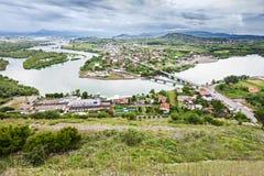 Shkoder, Albania. View to city from Rozafa Castle in Shkoder, Albania royalty free stock photo