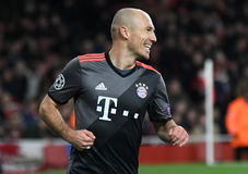 Arjen Robben. Celebrates after a goal scored during UEFA Champions League Group Last 16 Round game between Arsenal FC and Bayern Munich on March 7, 2017 at Royalty Free Stock Images